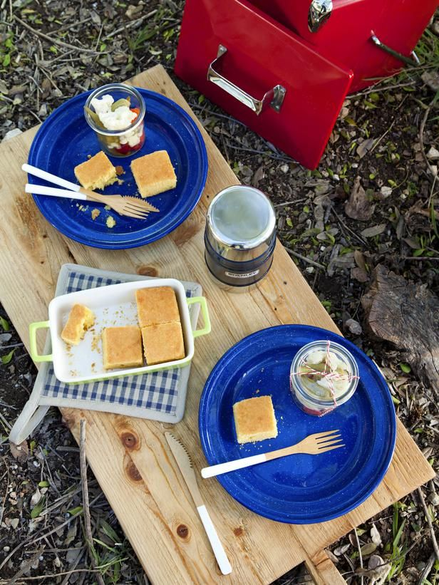 Be Prepared When it comes to dining al fresco, nothing is better than enamel ware. Lightweight, durable and easy to clean, having a few enamel plates on hand is a perfectly practical and eco-friendly solution for picnicking. Bring along a large cutting board to serve as your hard surface when prepping your meal. Then make it do double-duty as a makeshift tabletop on uneven ground!