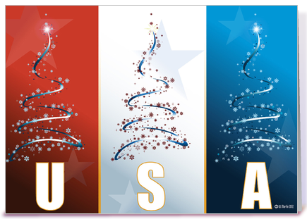 red white blue patriotic christmas card