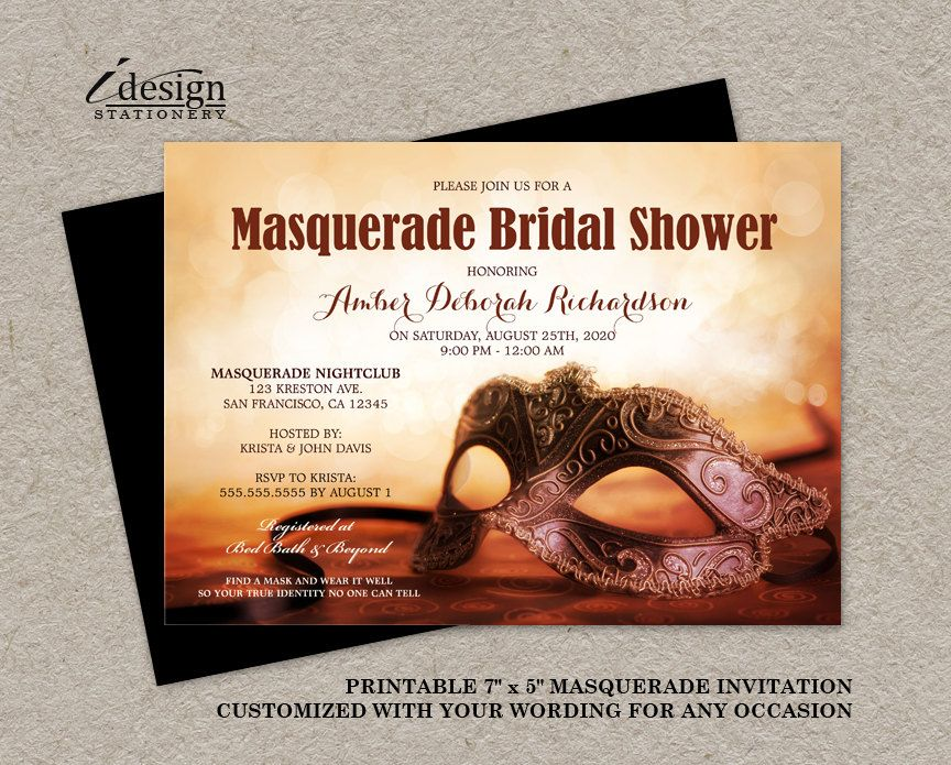 masquerade bridal shower invitation printable mardi gras themed wedding shower invitations with mask masquerade party and ball invites by