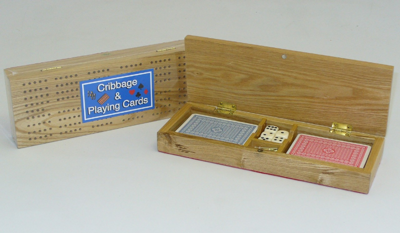 wood cribbage storage with playing cards is a perfect set