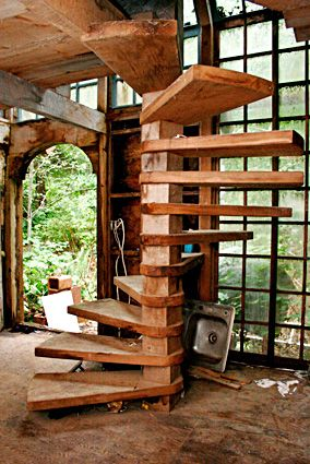 Old Wood Stairs Spiral Stairs.