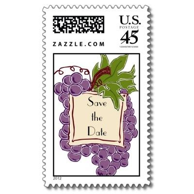 Save the Date Wine Themed Wedding Postage Stamp from Zazzle.com