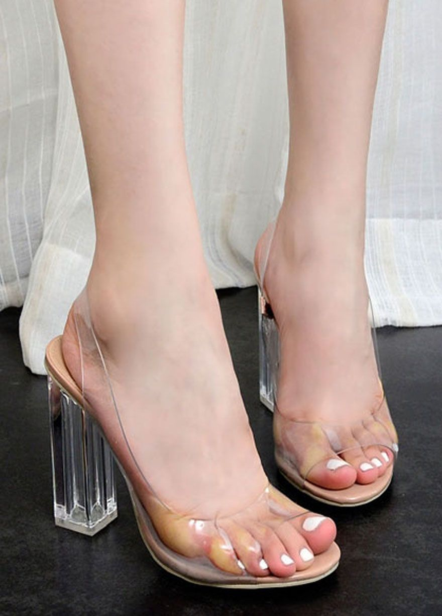 adf3c32cda3aae Transparent Upper Open Toes Crystal Fat Heel Sandals  Women High  Heels Women Shoes Sexy Lingeire