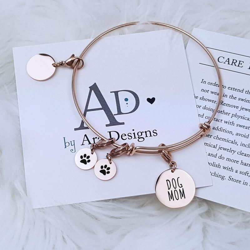 ef137ed12 Personalized Pet Bracelet Dog Mom Gift Personalized Jewelry Personalized  Bracelet Charm Bracelet Anniversary Gift for Her Wife Gift for Mom