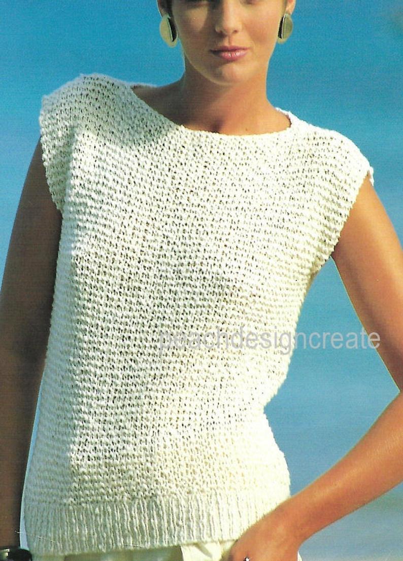 Knitting Pattern Pdf Women S Ladies Cotton Knit Top Etsy Knit Top Patterns Ladies Knitting Patterns Knit Vest Pattern