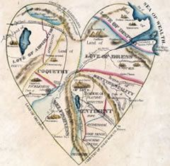 """A Map of the Open Country of a Woman's Heart"" published by D. W. Kellogg, c. 1833–1842"