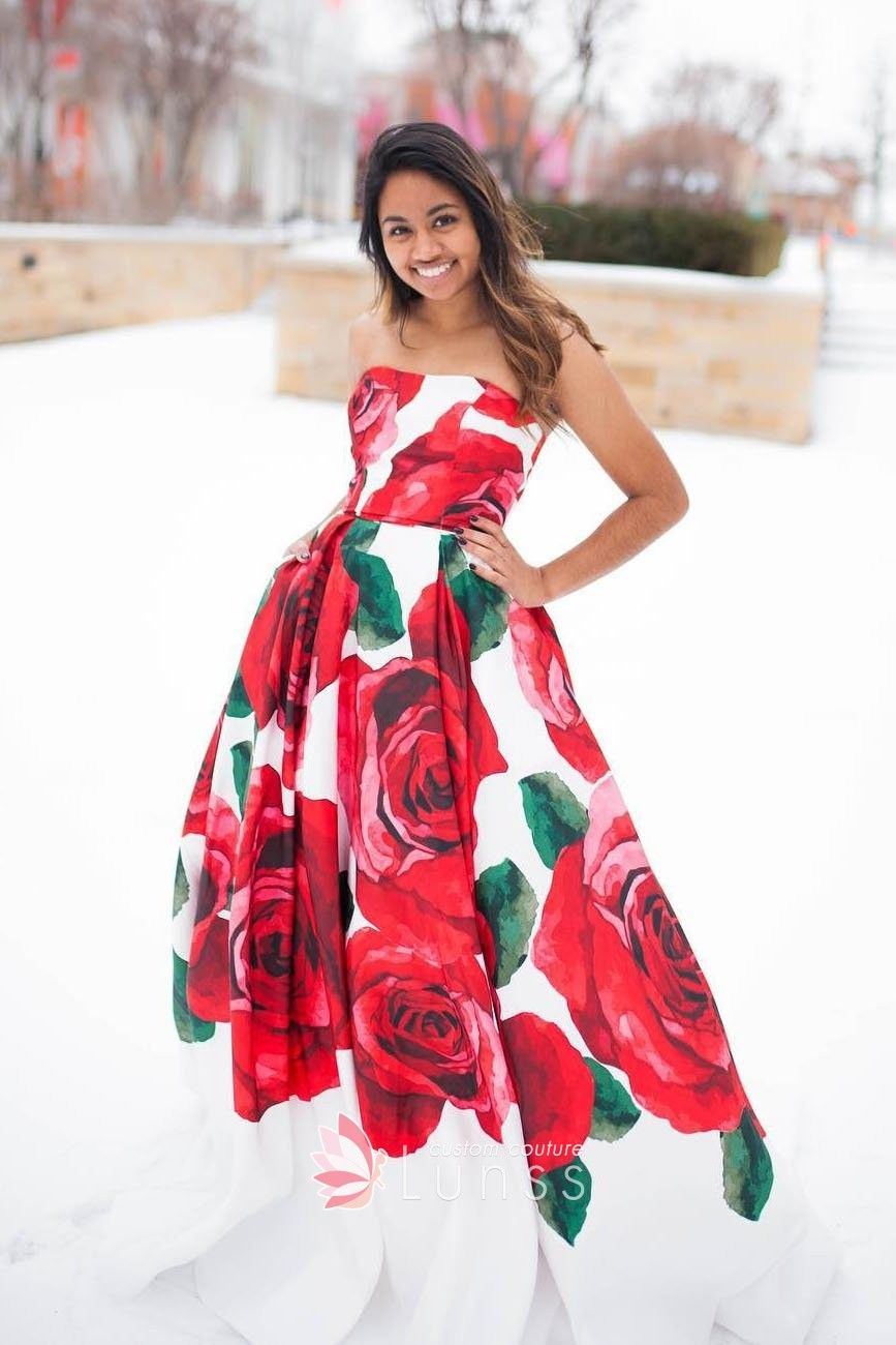 ed795d9f95 Huge Red Rose Floral Printed Strapless Ball Gown Prom Dress