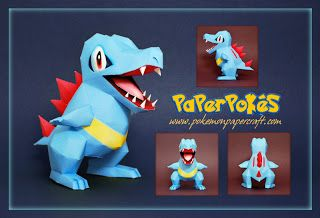 Paperpokés- Pokémon Papercrafts: TOTODILE