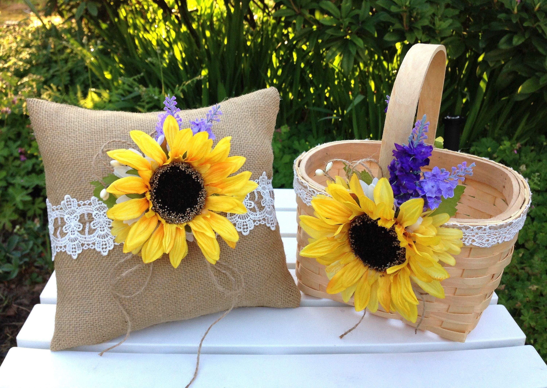 Sunflower Flower Girl Basket and Ring Bearer Pillow Set