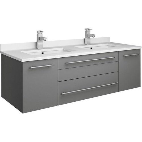 Fresca 48 Inch Lucera Double Sink Floating Vanity With Top And Undermount Sink Gray Fcb6148gr Uns D Cwh U In 2020 Floating Vanity 48 Inch Double Vanity Double Sink Bathroom