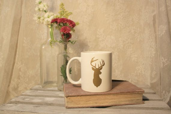 Gold Deer Ceramic Coffee Mug gift for by LettersFromSavannah