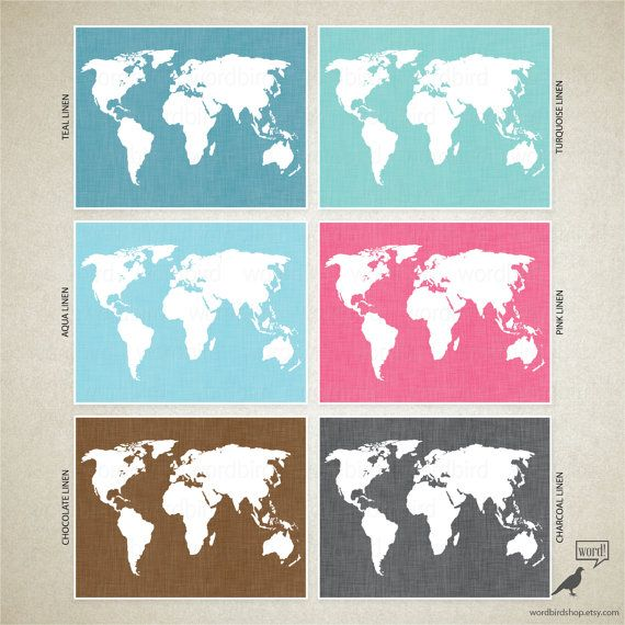 Charcoal Linen World Map Linen Texture Map Print By WordBirdShop - Artsy world map poster
