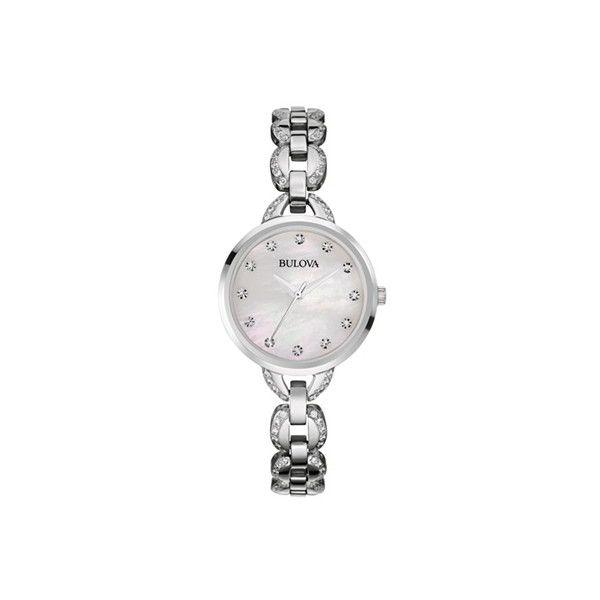 Ladies' Bulova Dress Watch (1.550 VEF) ❤ liked on Polyvore featuring jewelry, watches, bulova watches, stainless steel jewellery, stainless steel watches, fine jewelry and bulova jewelry