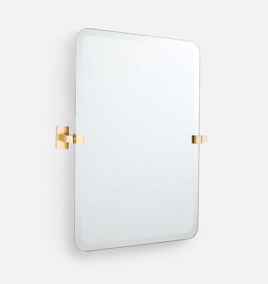 Yaquina Frameless Rounded Rectangle Pivot Mirror Rejuvenation Rounded Rectangle Mirror Frameless Mirrors Design