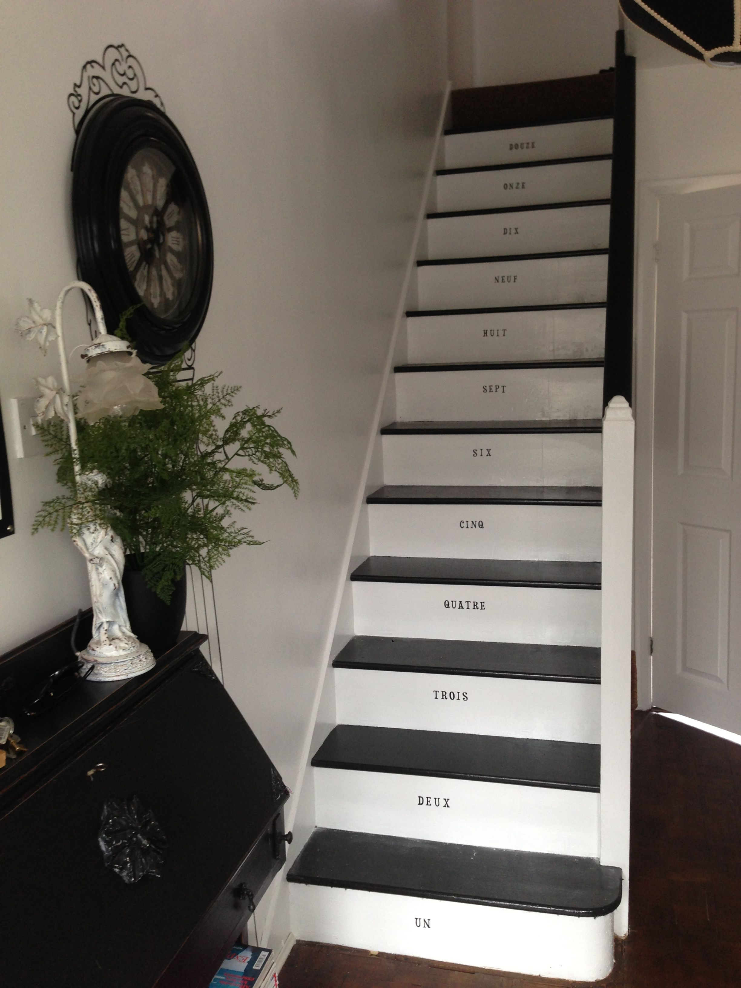 My Painted Stairs Which I Used An Eggshell Black For The Treads And A White Gloss For The Back Treads The Banister I Painted In Painted Stairs Home Home Decor