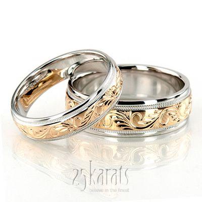 Elegant Hand Engraved Fancy Designer Wedding Band Set Filigree Wedding Band Wedding Band Engraving Matching Wedding Rings