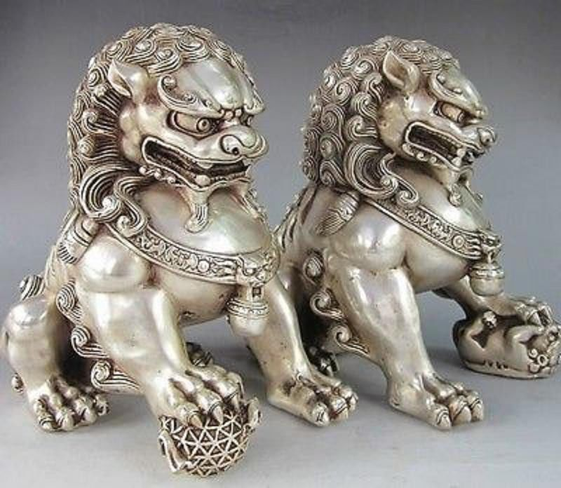China Old Fengshui Lion Animal Statue Home Furnishing Articles Decoration