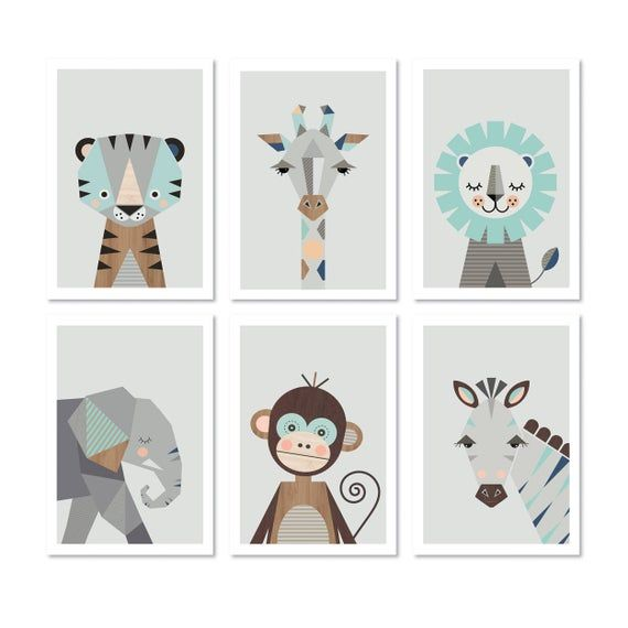 Safari prints in mint, Series of six, A4 or 8×10″ size. Nursery prints, nursery art, kids art, nursery decor, playroom art, animal prints. Children's room