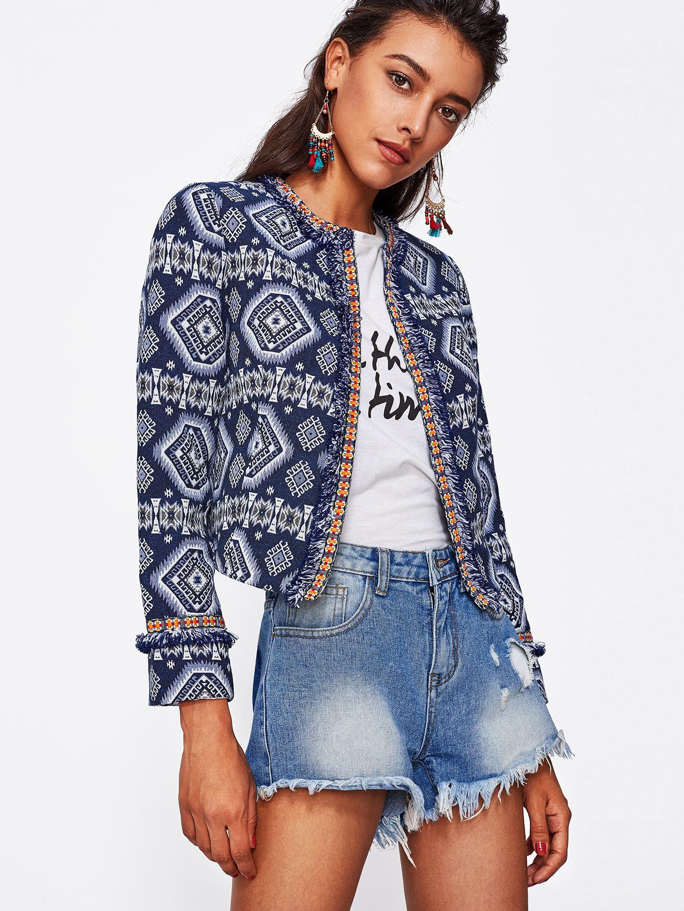 7ea741644f Shop Tribal Print Frayed Lace Trim Open Front Blazer online. SheIn offers Tribal  Print Frayed Lace Trim Open Front Blazer & more to fit your fashionable ...