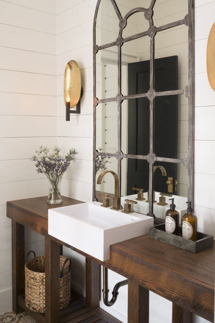 Rustic Powder Room With Wood Counters, Powder Room, Sahara Sconce, Wall  Sconce, Ultra Widespread Bathroom Faucet Amazing Pictures