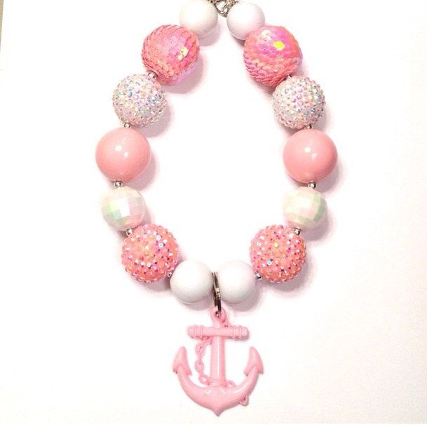 Chunky necklace pink necklace anchor by LolaandDarlaDesigns, $18.00