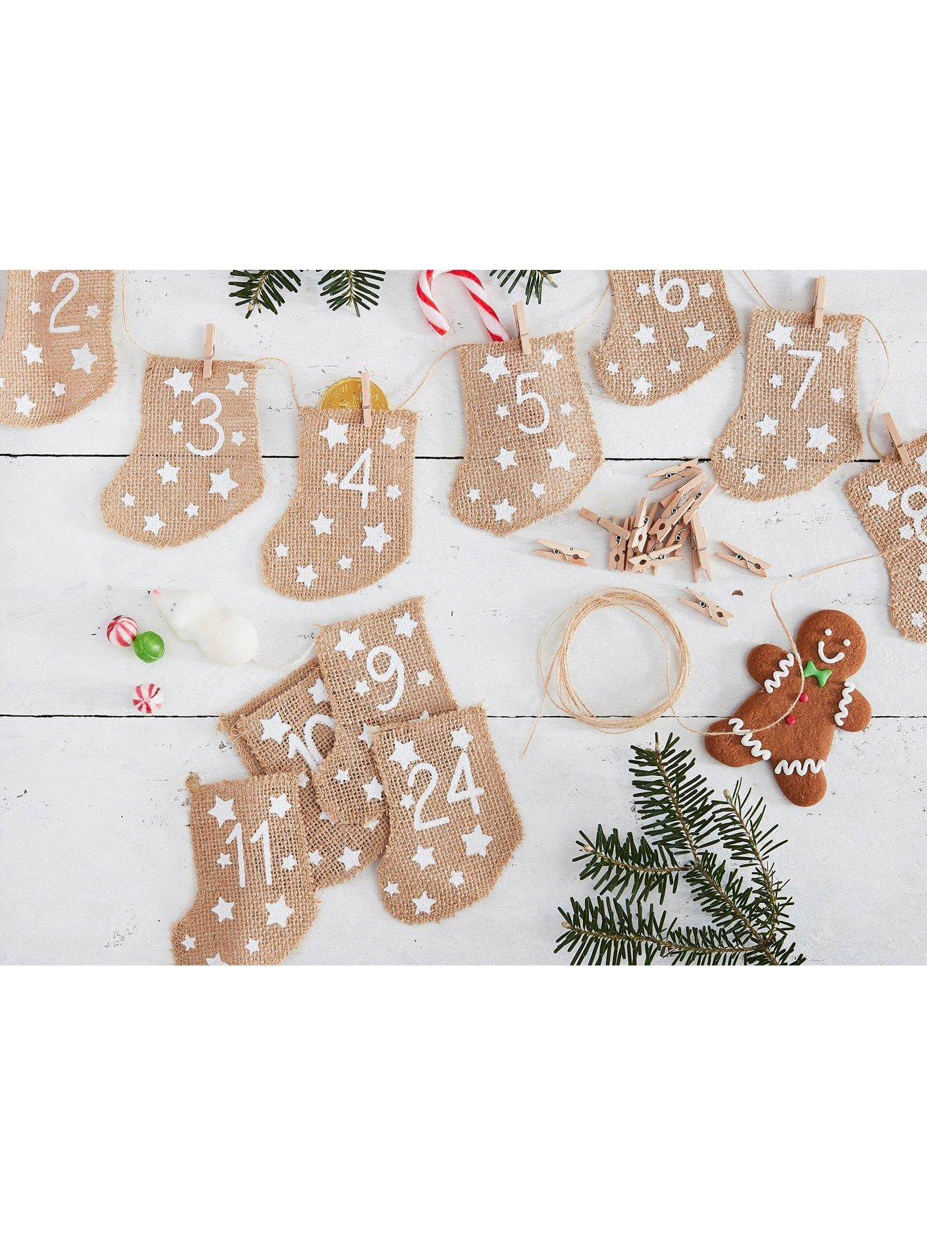 Ginger Ray Ginger Ray Let It Snow Hessian Advent Stockings