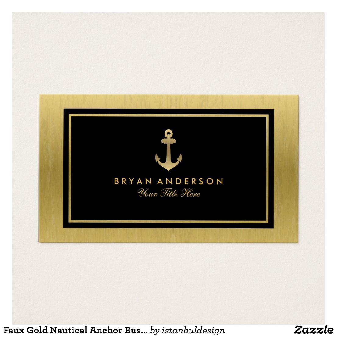 Faux Gold Nautical Anchor Business Card   Nautical Business Cards ...