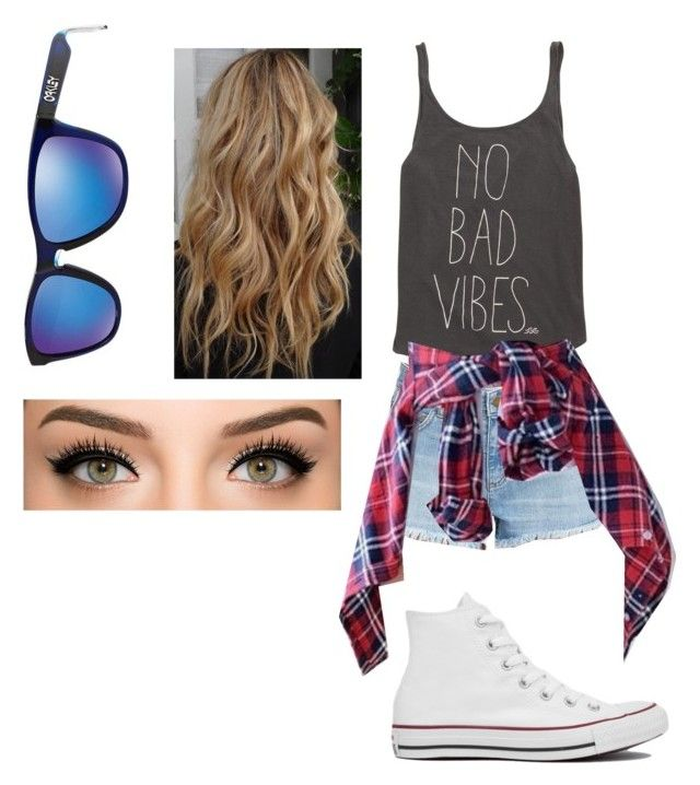 """""""No bad vibes"""" by golden-bear ❤ liked on Polyvore featuring Billabong, Oakley and Converse"""