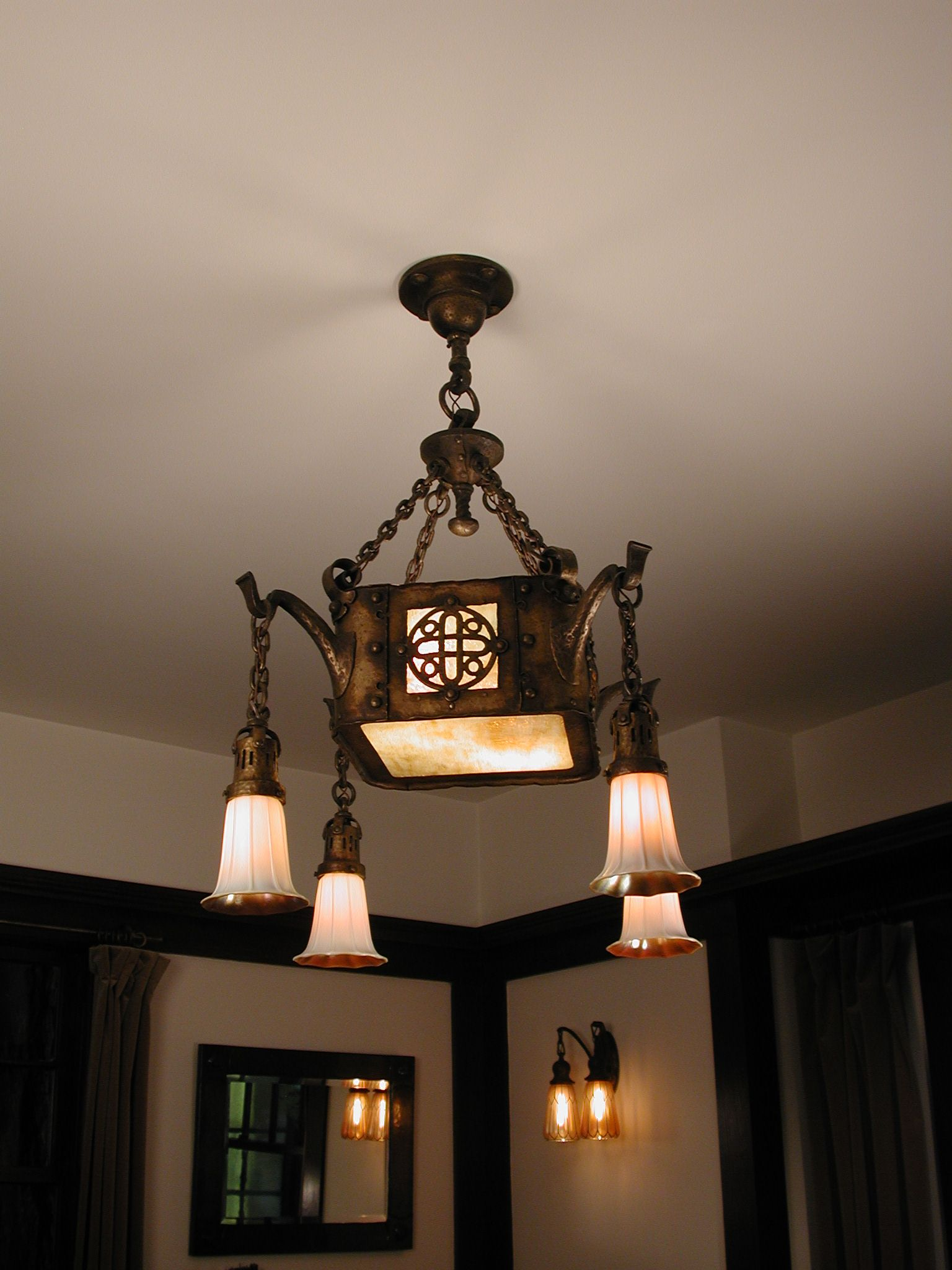 Wonderful Craftsman Fixture With Stuben Shades Shades On Wall Sconces Are Iridile From Mcbeth Evan Craftsman Lamps Mission Style Lighting Art Nouveau Lamps