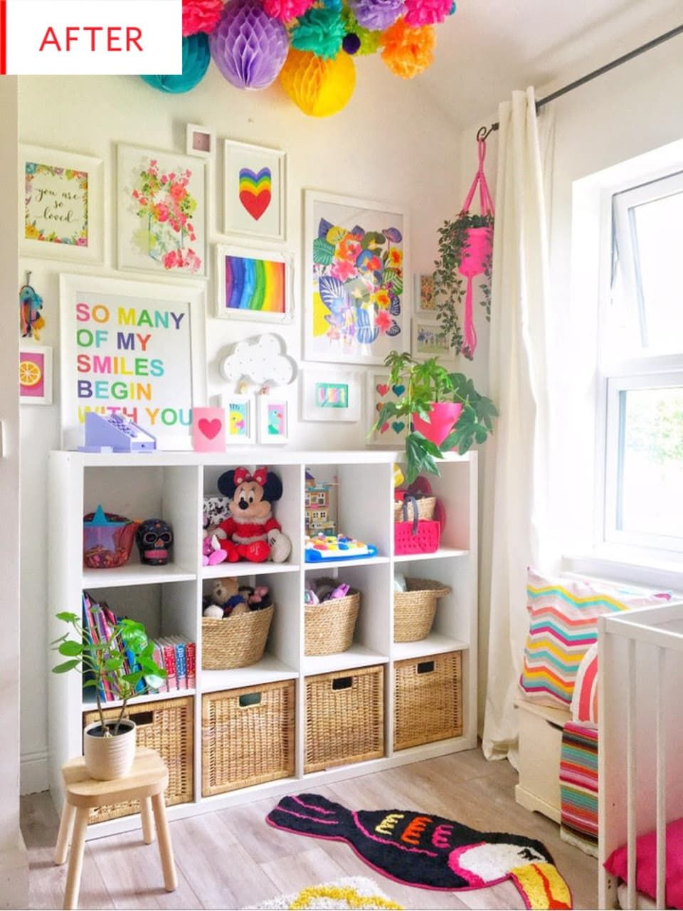 Before And After Bold Color Gives A Shared Girls Room New Life Shared Girls Room Colorful Kids Room Kids Bedroom Organization