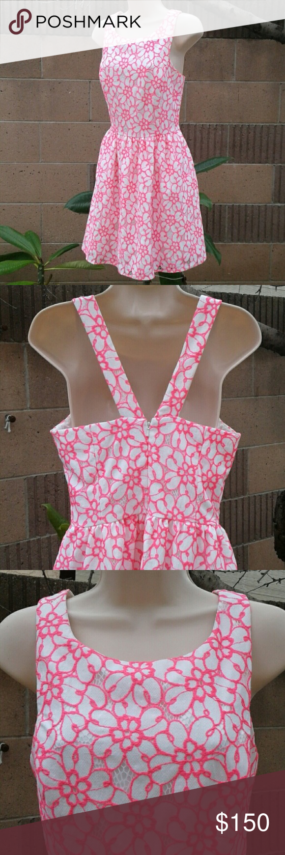 Lilly Pulitzer Fiesta Pink and white lace dress NWT | Pinterest
