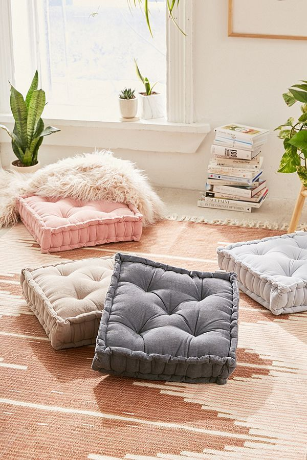 I love these pretty cordoroy floor pillows. They look so comfy and ...
