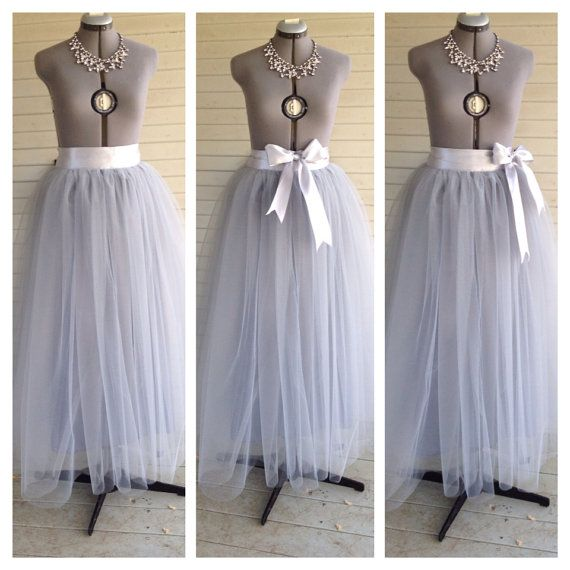 85041b18b Floor Length/Tea LEngth Adult grey/gray silver Tulle Tutu Skirt Satin  Ribbon Sash Dance Great Gatsby