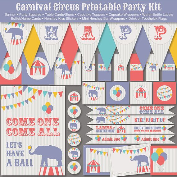 Carnival Circus Elephant Printable Party Kit Instant Download