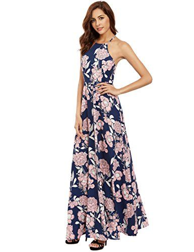 0e332bade36 Floerns Women s Sleeveless Halter Neck Vintage Floral Print Maxi Dress Pink.