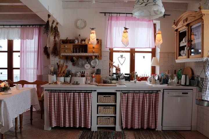 Beautiful Country Kitchen Cabinet Curtains Open Shelves Save Resources In The Making Country Cottage Kitchen Cottage Kitchen Cabinets Home Renovation