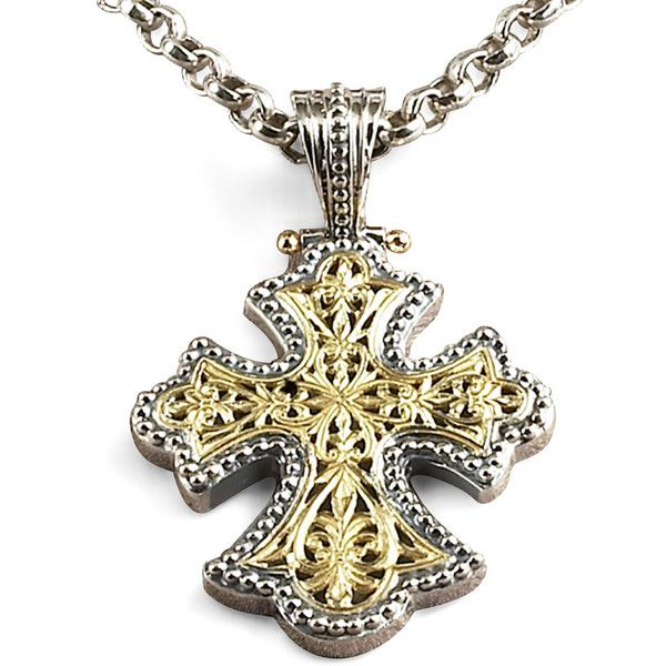 Konstantino Flared Cross Pendant ($1,385) ❤ liked on Polyvore featuring jewelry, pendants, necklaces, 18k jewelry, chains jewelry, konstantino jewelry, cross charms and cross pendant jewelry