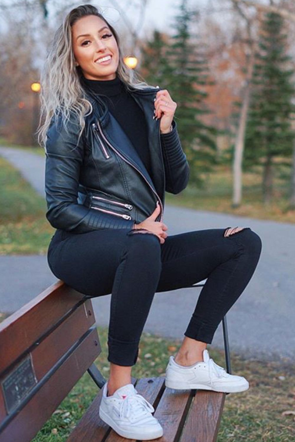 How To Wear Leather Biker Jacket With Black Skinny Jeans