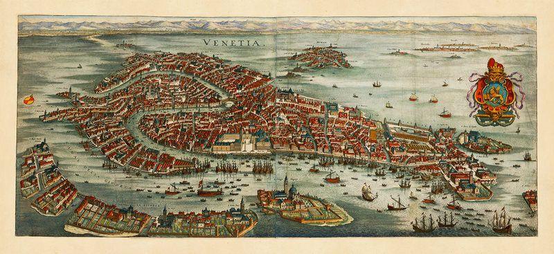 Venice, 1600s, Venetia, Venezia, bird's-eye view, old map ...