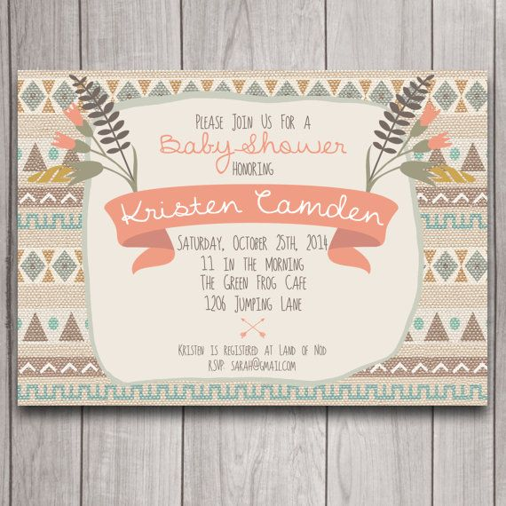 tribal boho baby shower invitation digital download arrows bohemian