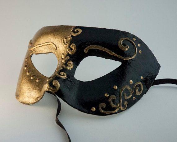 Black And Gold Venetian Mask For Men Swirls In Gold Masculine