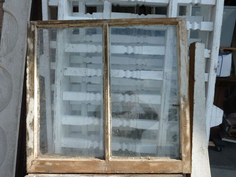 C1870 Victorian Double Pane Window Frame Sash Old Paint 325 X 31