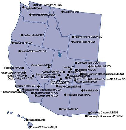 Western Us National Parks National Parksus National Parks - Map-of-national-parks-in-western-us