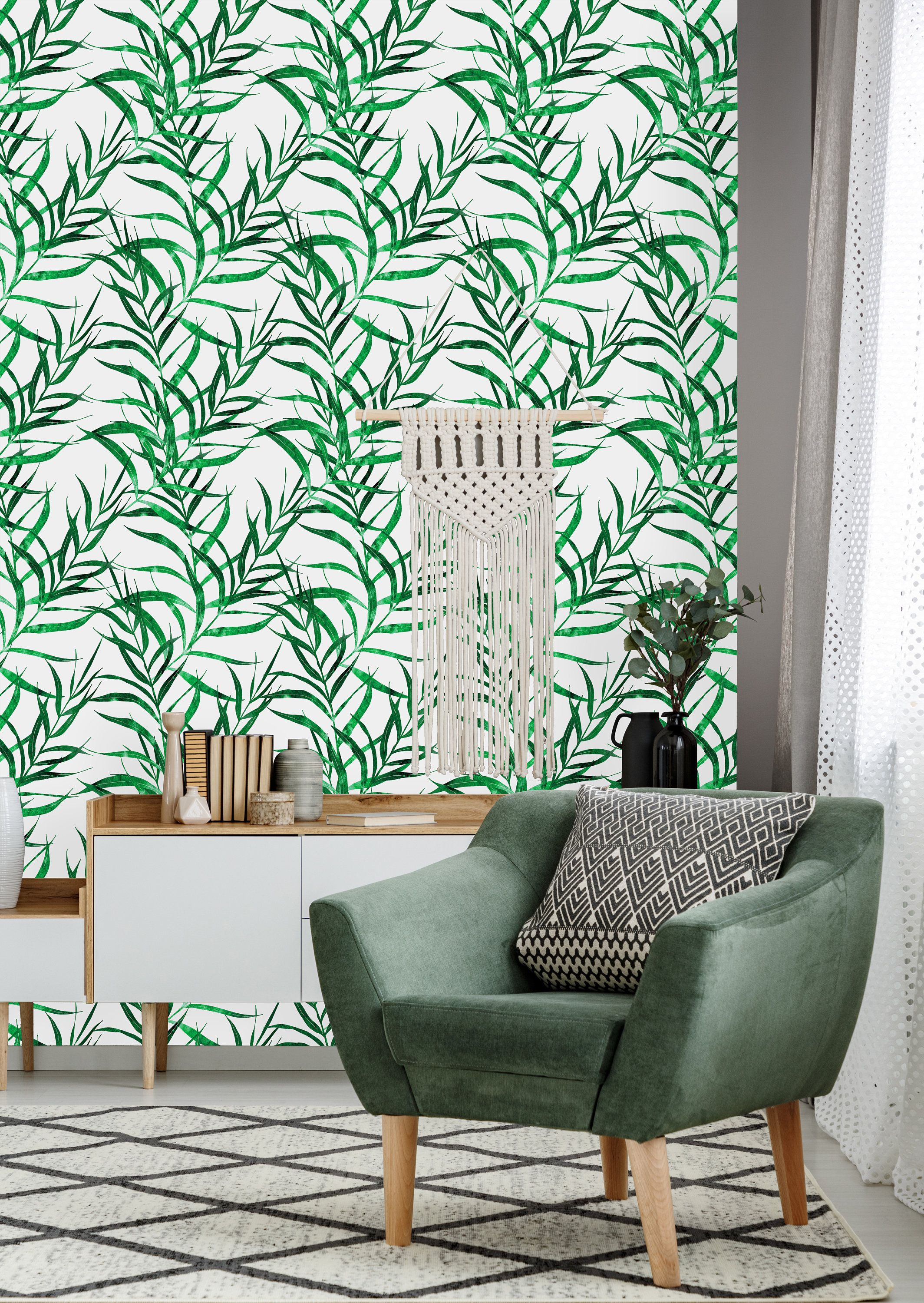 Green Nature Flowers And Leaves Removable Wallpaper Peel And Etsy Wall Murals Wall Wallpaper Home Decor