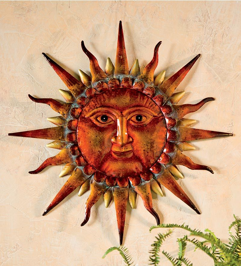 wise sun face metal wall art wind weather 24 l x 1 1 2 w x 24 h on the walls. Black Bedroom Furniture Sets. Home Design Ideas