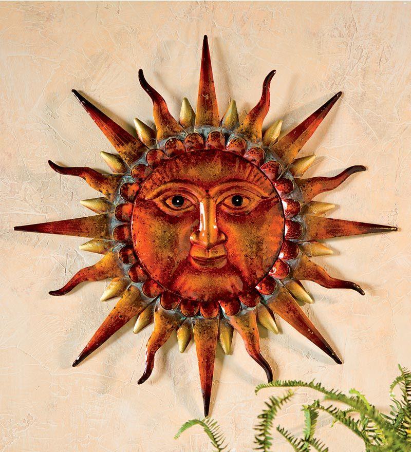 Wise Sun Face Metal Wall Art Wind Weather 24 L X 1 2 W H