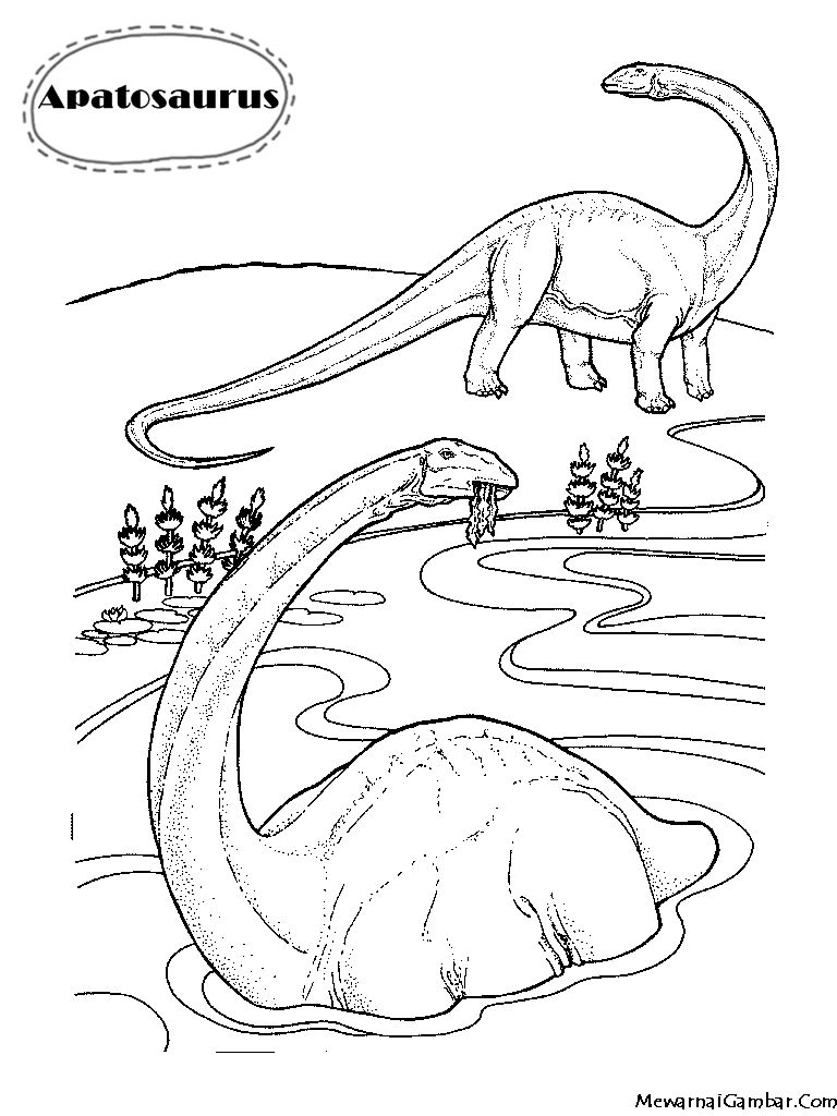 Download Gambar Mewarnai Dinosaurus Apatosaurus Coloring Pages