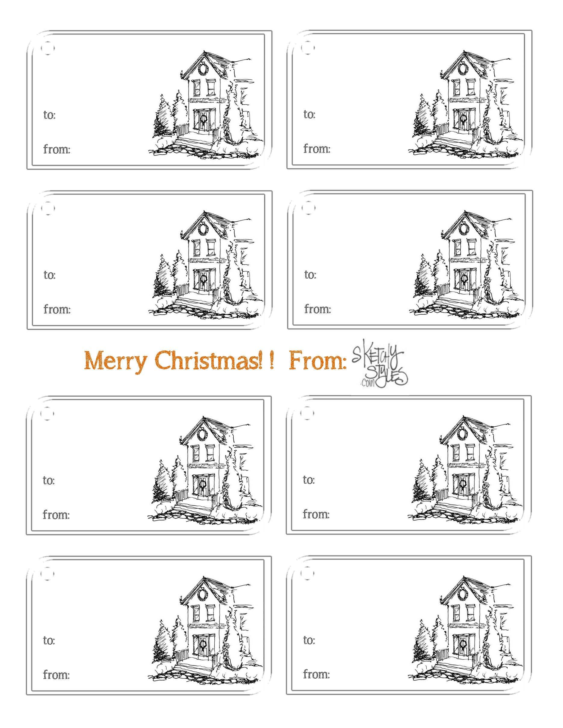 Printable Holiday T Tags By Sketchystyles Printable Ttags