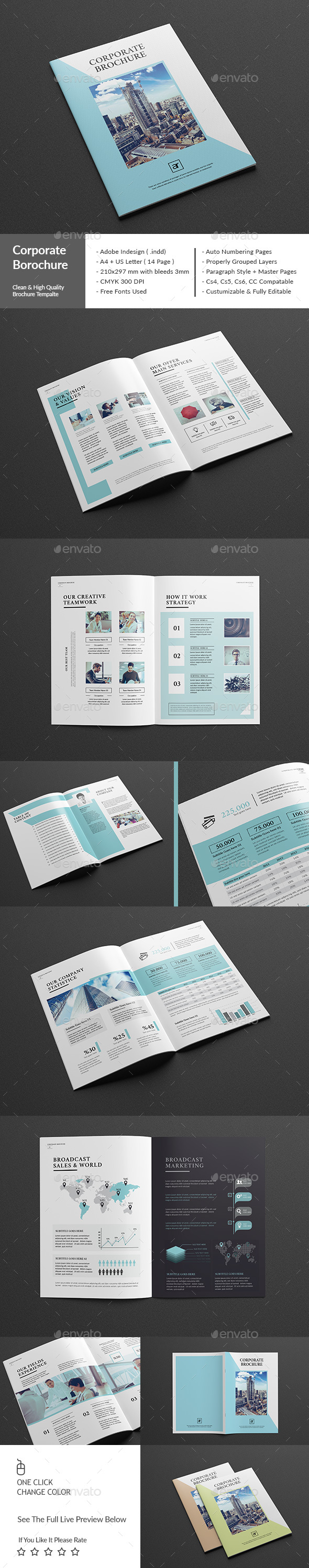 Corporate Brochure A4 Template InDesign INDD #design Download: http ...