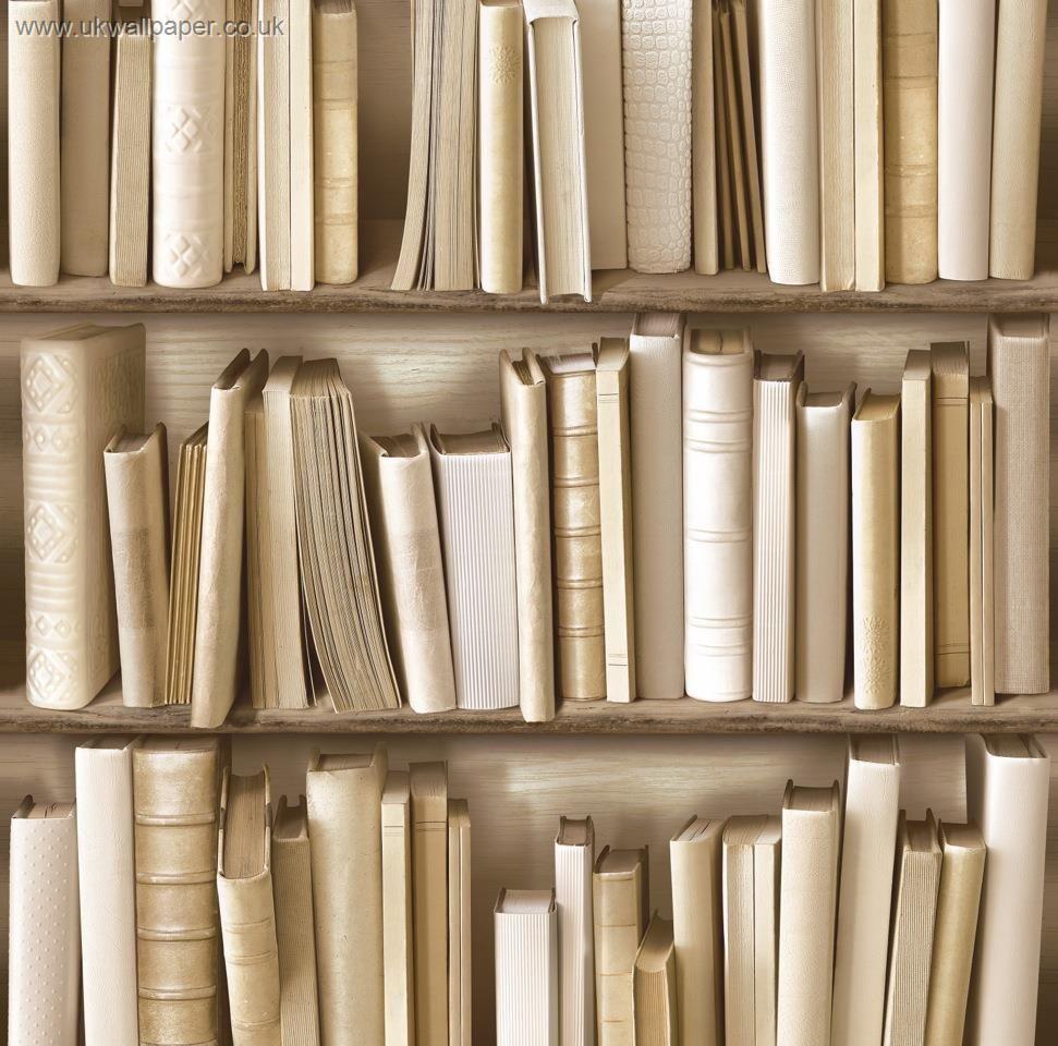 Library Books Wallpaper Cream